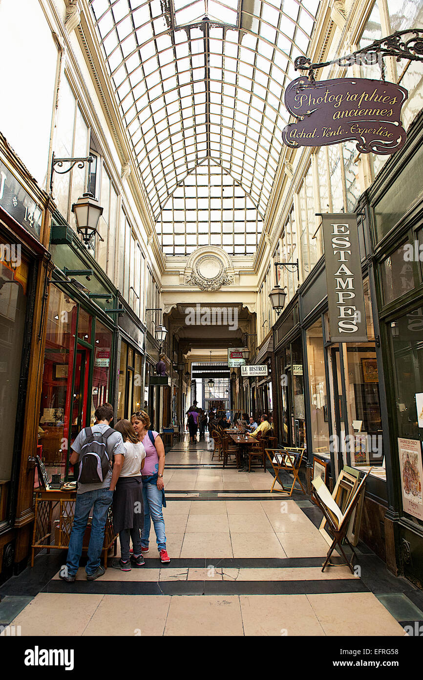 Paris Shopping Arcade, Paris, France - Stock Image