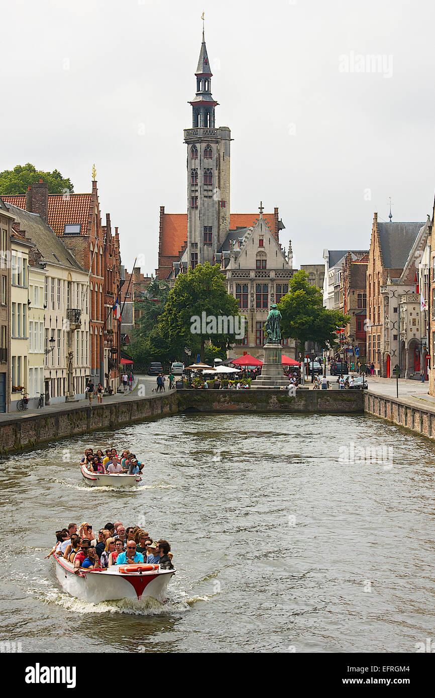 Bruges Canal, Bruges, Belgium - Stock Image
