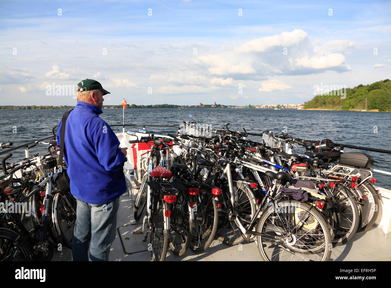 Tourist cruise ship on lake Mueritz, Mecklenburg Pomerania, Germany, Europe - Stock Image