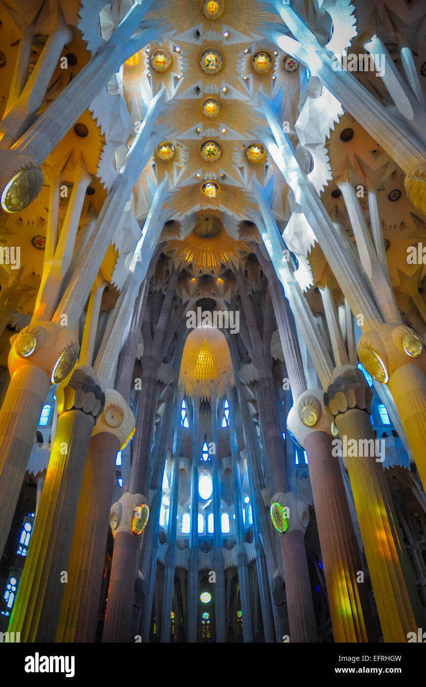 Barcelona Spain Sagrada Familia church interior architecture - Stock Image