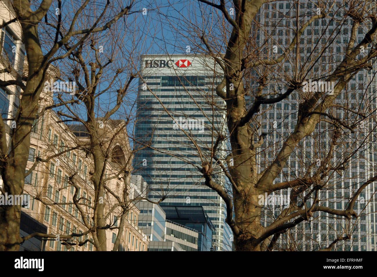 London, UK, 9 February 2015, HSBC head office in Canary Wharf Stock