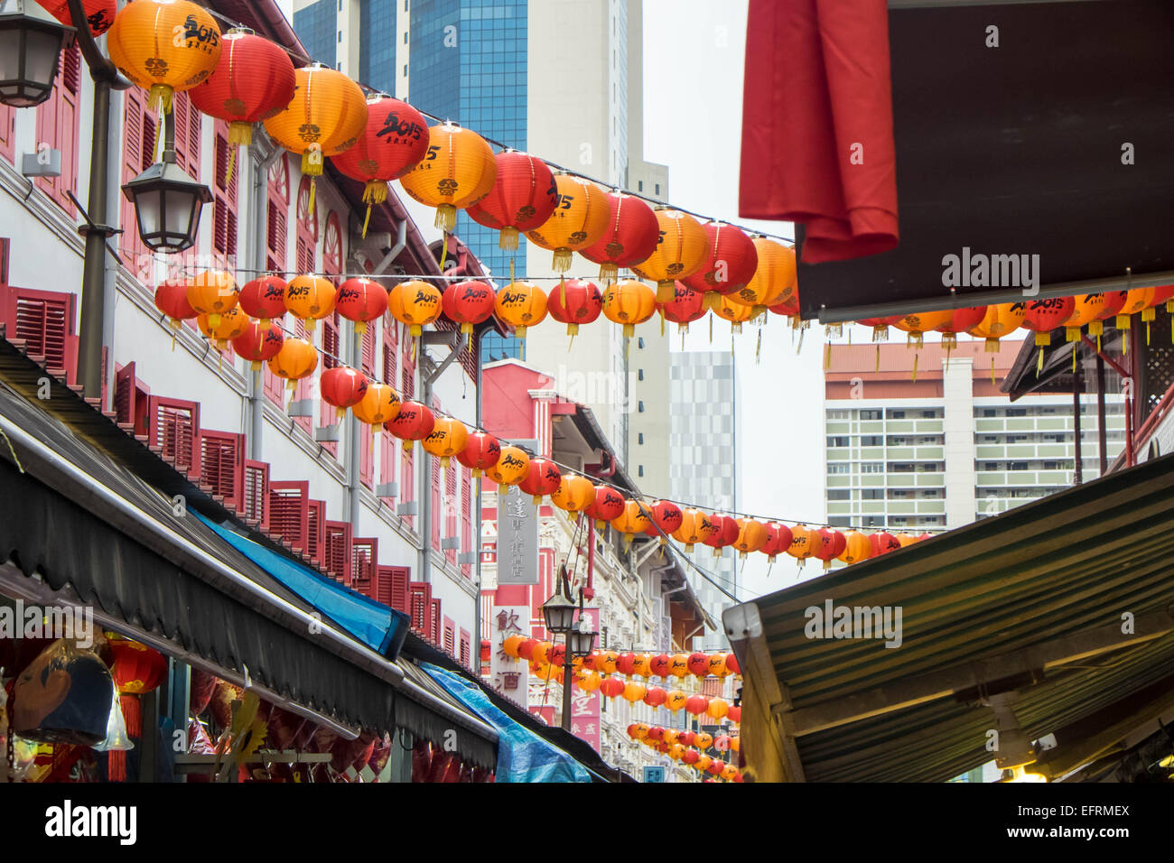 Lanterns hanging in the street to celebrate the year of the goat - Stock Image