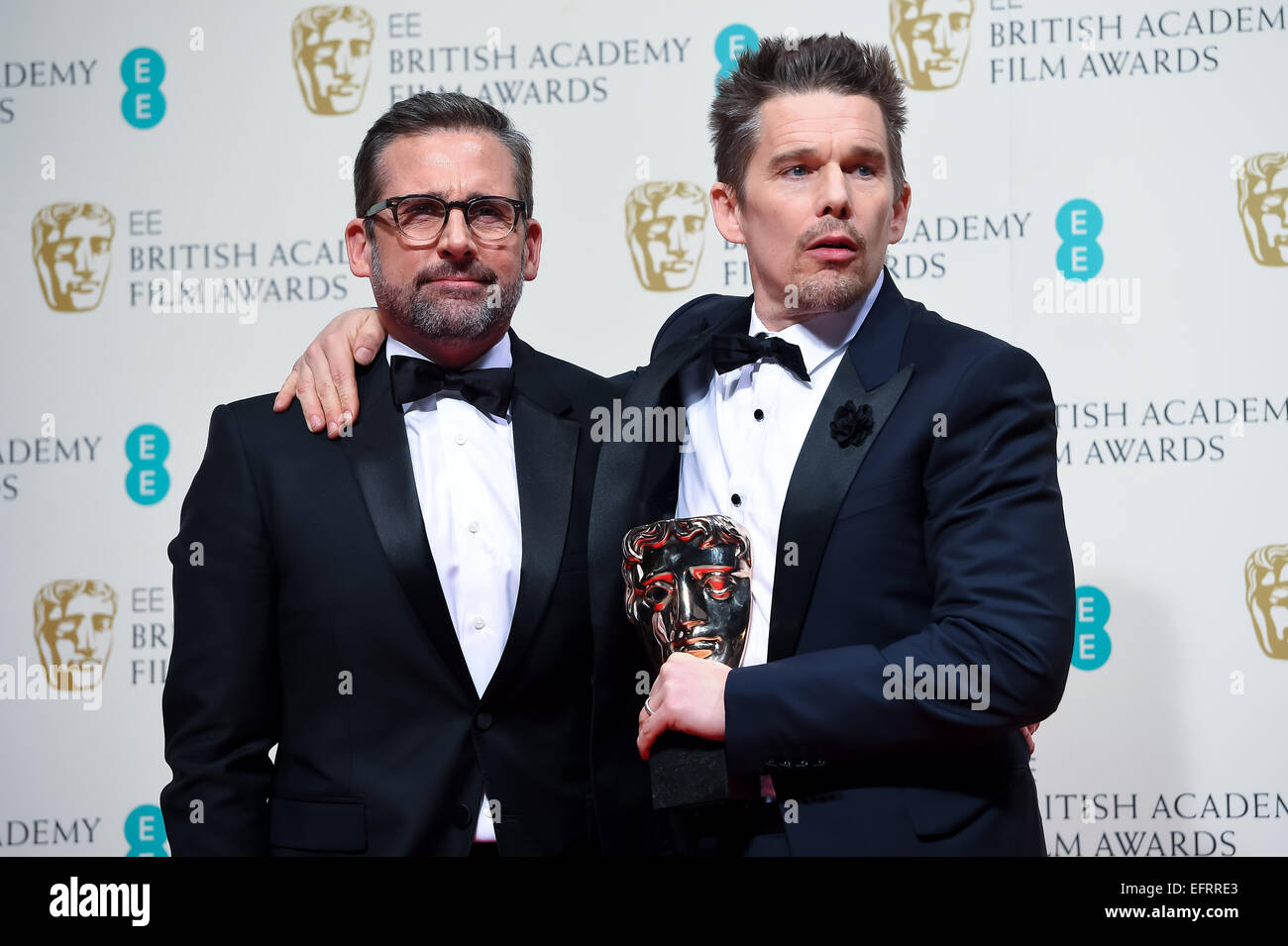 Steve Carell and Ethan Hawke at the EE British Academy Film Awards at The Royal Opera House on February 8, 2015 - Stock Image