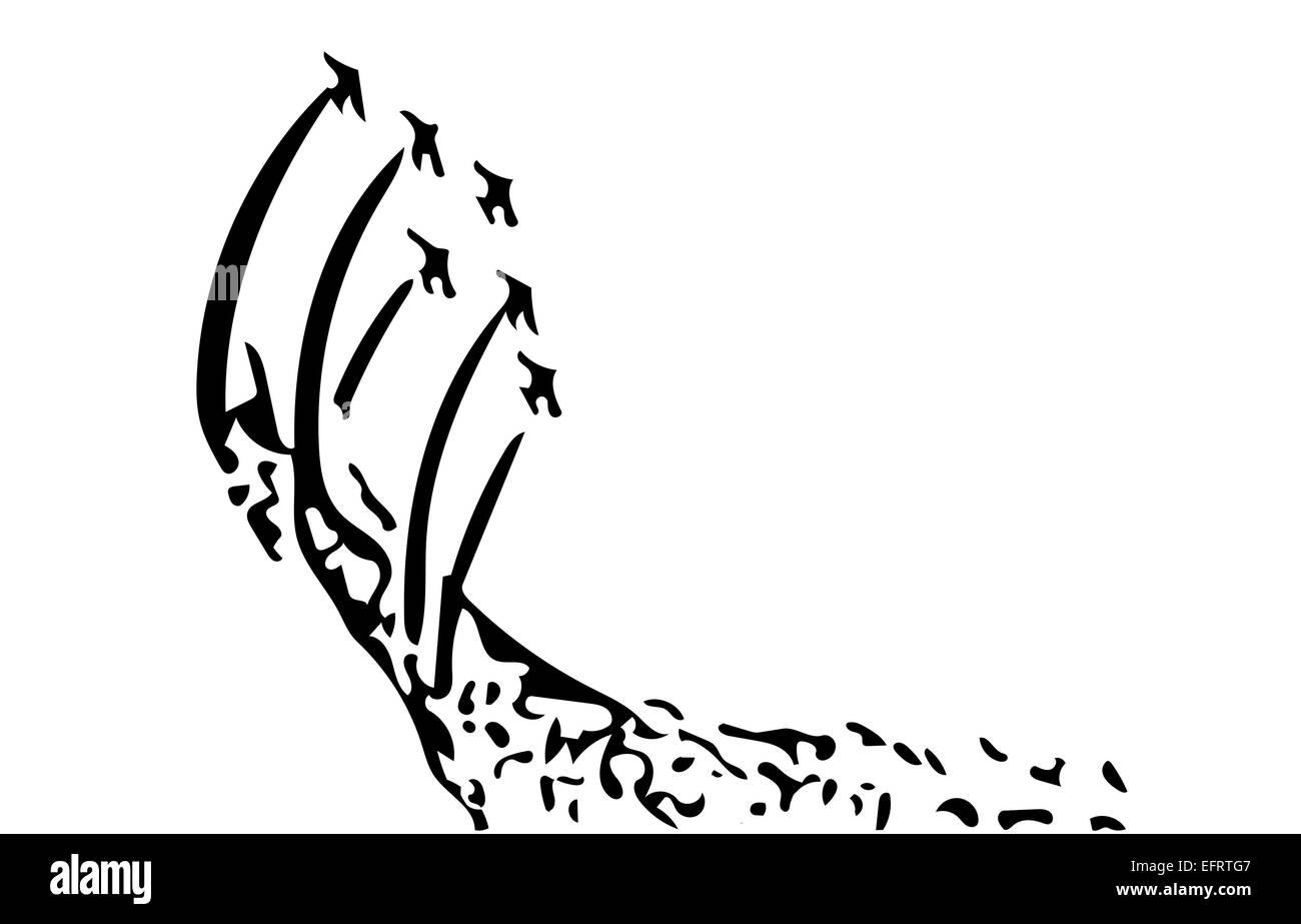 aerobatic show sketch jet performance illustrator - Stock Image