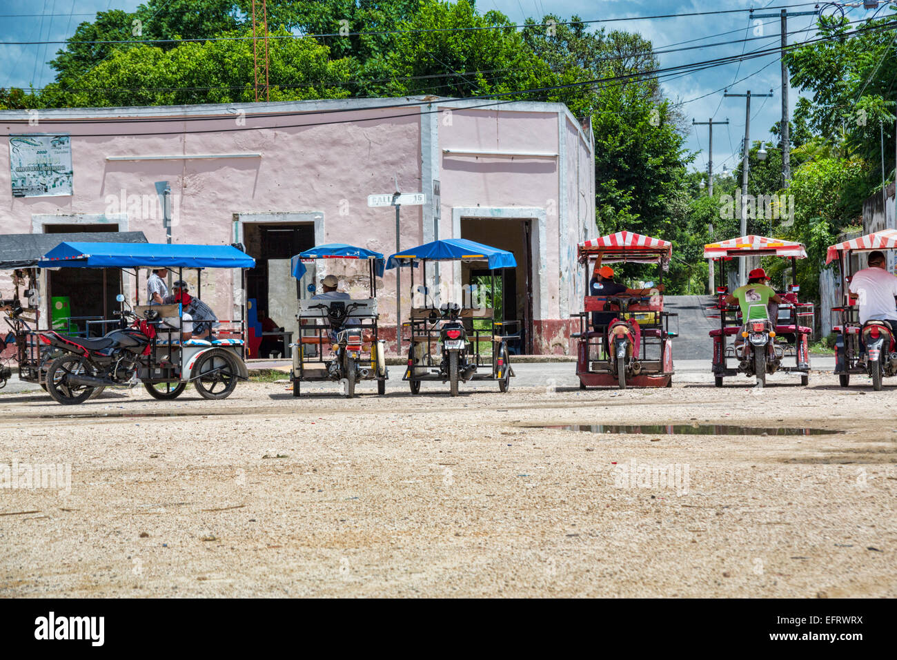 bike taxis parked in Yucatan Mexico - Stock Image