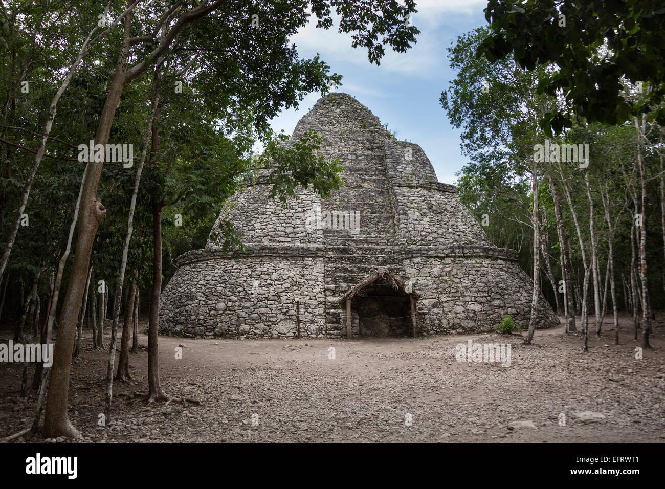 coba ruins pyrooramid maya civilization Quintana Roo, Mexico north america religion - Stock Image