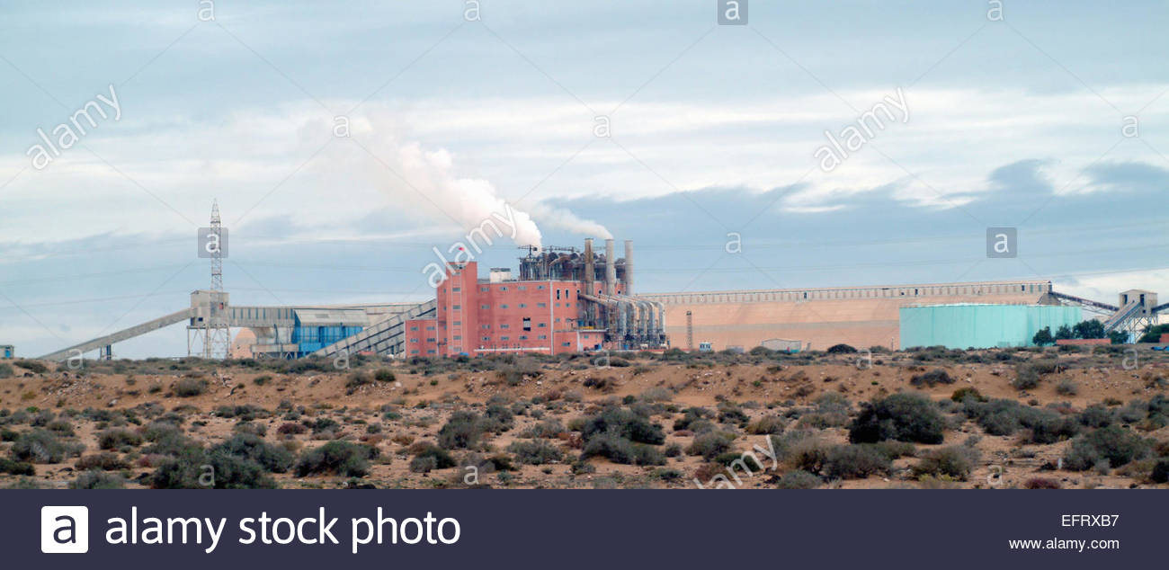 Factory Industry Thought To Produce Phosphates. Spanish Western Sahara Occupied By Morocco Western Sahara Spanish - Stock Image