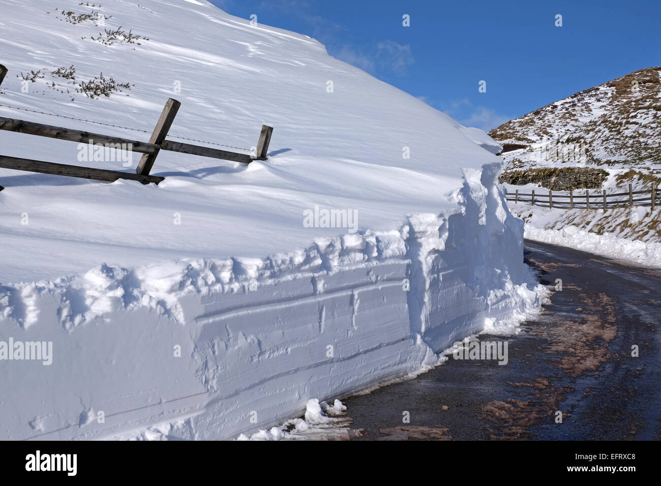 Snow drift that has been cleared by snow plough on the Mam Nick road between Edale and Castleton in the Peak District, - Stock Image
