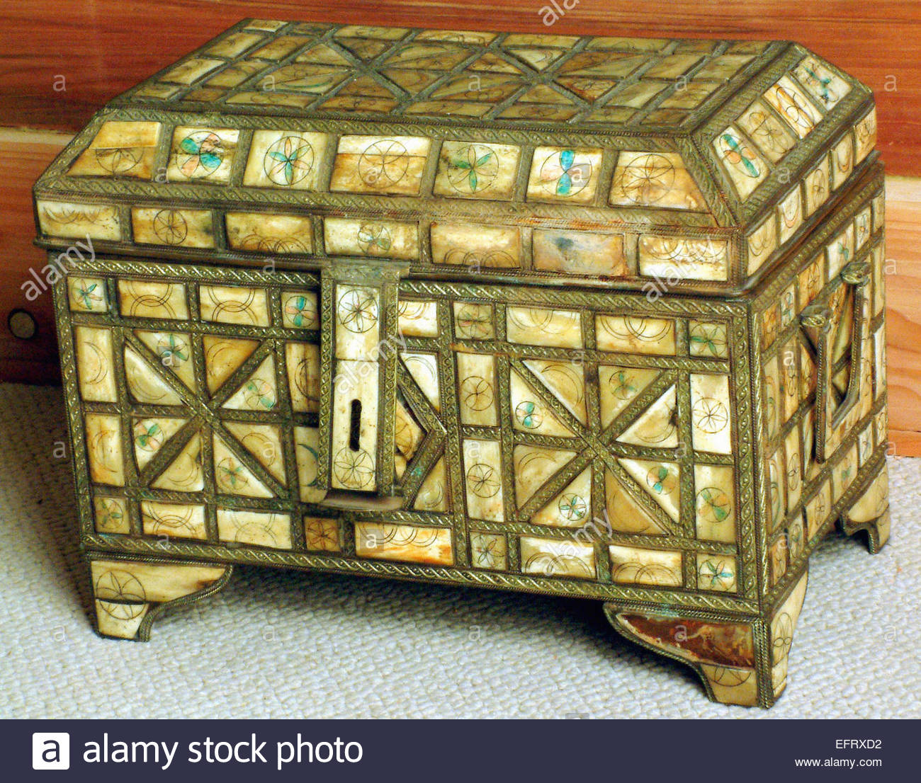 Box Decorated With Bone And Metal Art Artwork Western Sahara Spanish Sahara Sahara Espanol EH ESH North Africa Currently - Stock Image