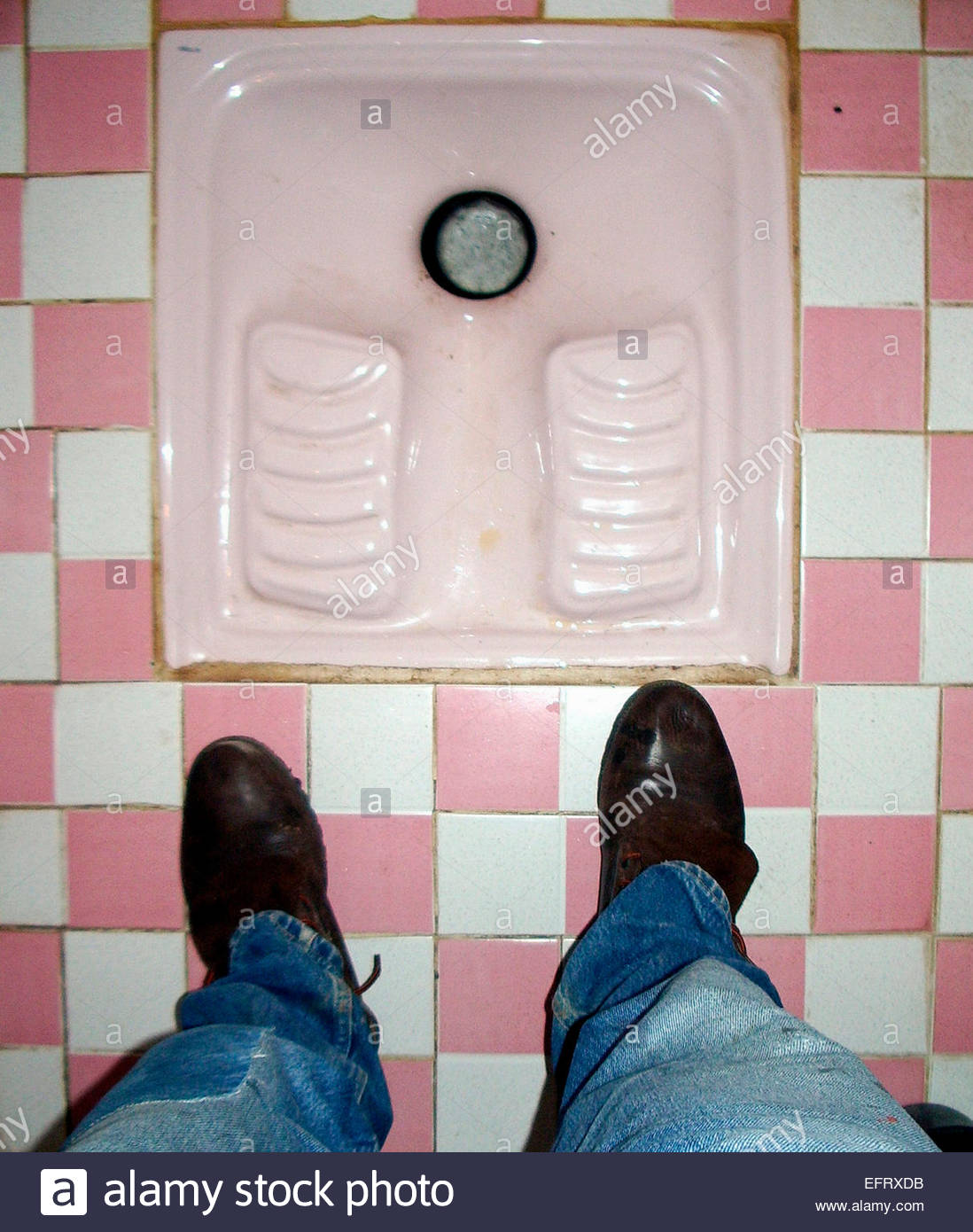 Arab Ceramic Toilet Inside Restaurant Arabic Toilets Spanish Western Sahara Occupied By Morocco Western Sahara Spanish - Stock Image
