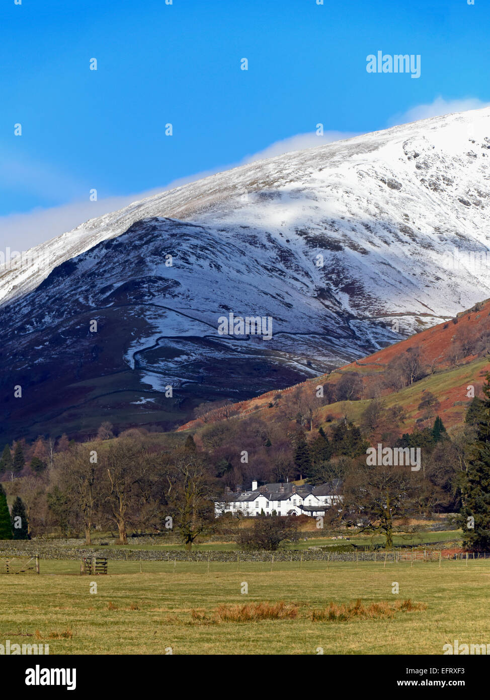 Seat Sandal and the Swan Hotel. Grasmere, Lake District National Park, Cumbria, England, United Kingdom, Europe. - Stock Image