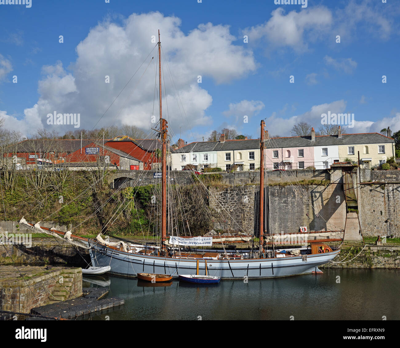 Westcountry Trading Ketch Irene at Charlestown, Cornwall, UK. Irene is used for charter, sail training and sustainable - Stock Image