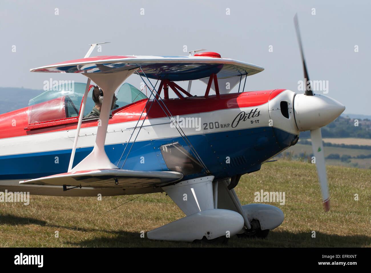 Photograph of a Pitts Aerobatic aircraft at Compton Abbas Airfield - Stock Image