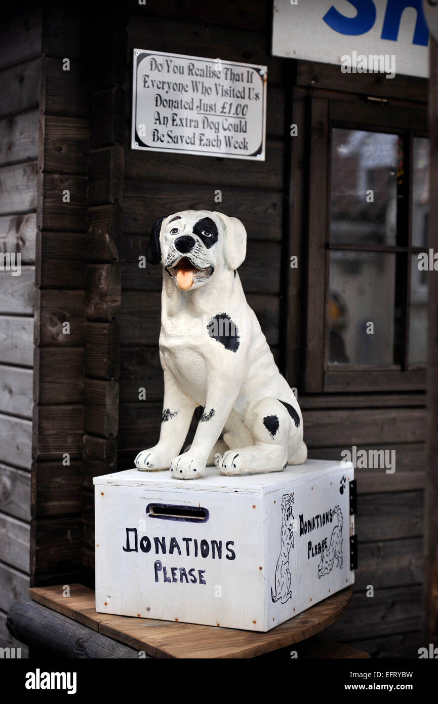 A donations box at the Many Tears Animal Rescue centre near Llanelli, S. Wales UK - Stock Image