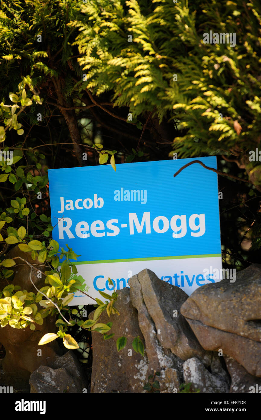 Campaign poster for the Conservative politician Jacob Rees-Mogg, Somerset, UK - Stock Image