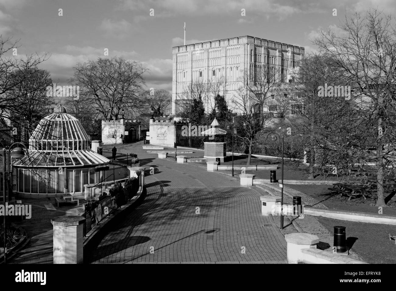 A view of the Castle Museum in the city centre at Norwich, Norfolk, England, United Kingdom. - Stock Image