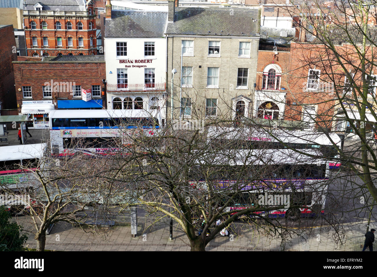A view of bus congestion in Castle Meadow, Norwich, Norfolk, England, United Kingdom. - Stock Image