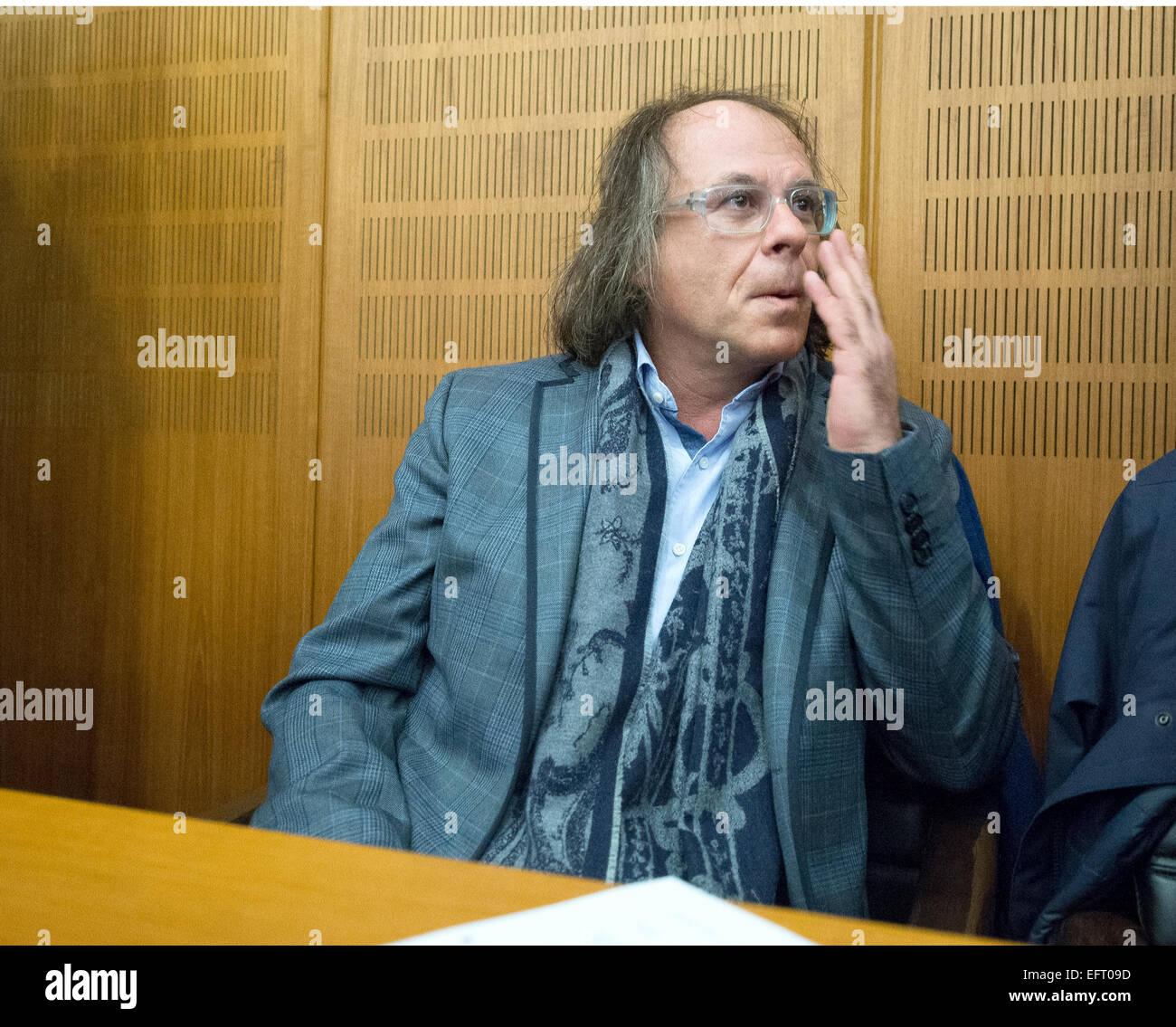Frankfurt, Germany. 10th Feb, 2015. Real estate entrepreneur Ardi Goldmann sits in the dock at the Regional Court - Stock Image