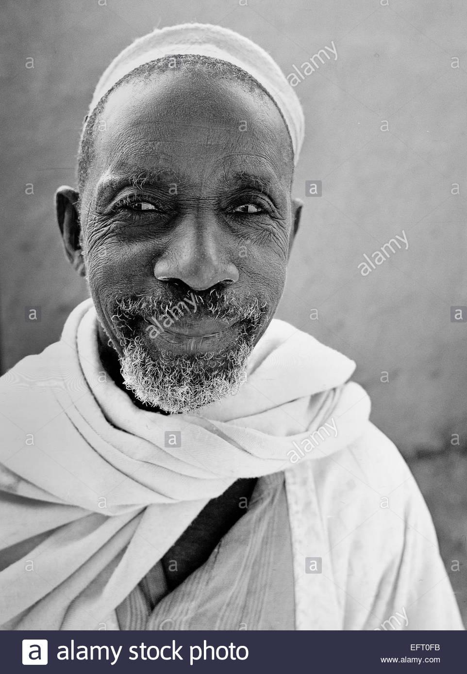 Republic Of Niger NER Western Africa Sahara Desert 2000 People Person Elderly Senior Head And Shoulders Headshot - Stock Image