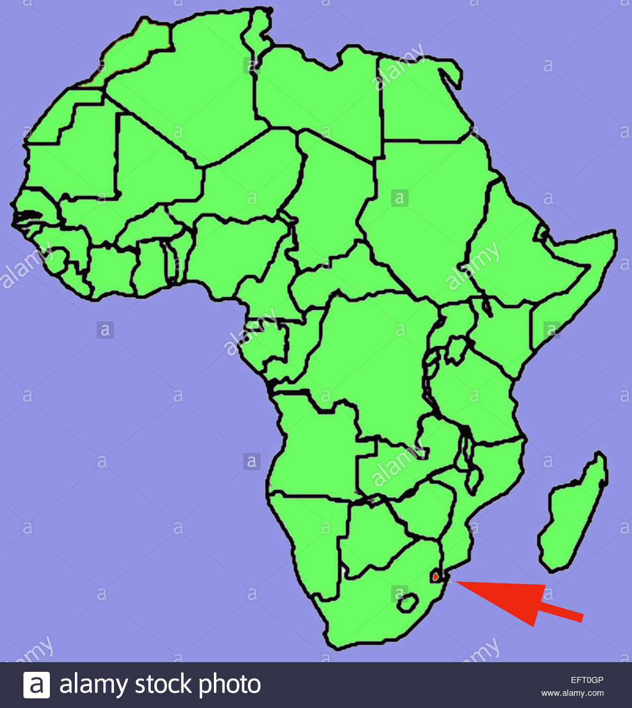 Map Of Africa Showing Location Of Swaziland Swaziland Africa Stock ...