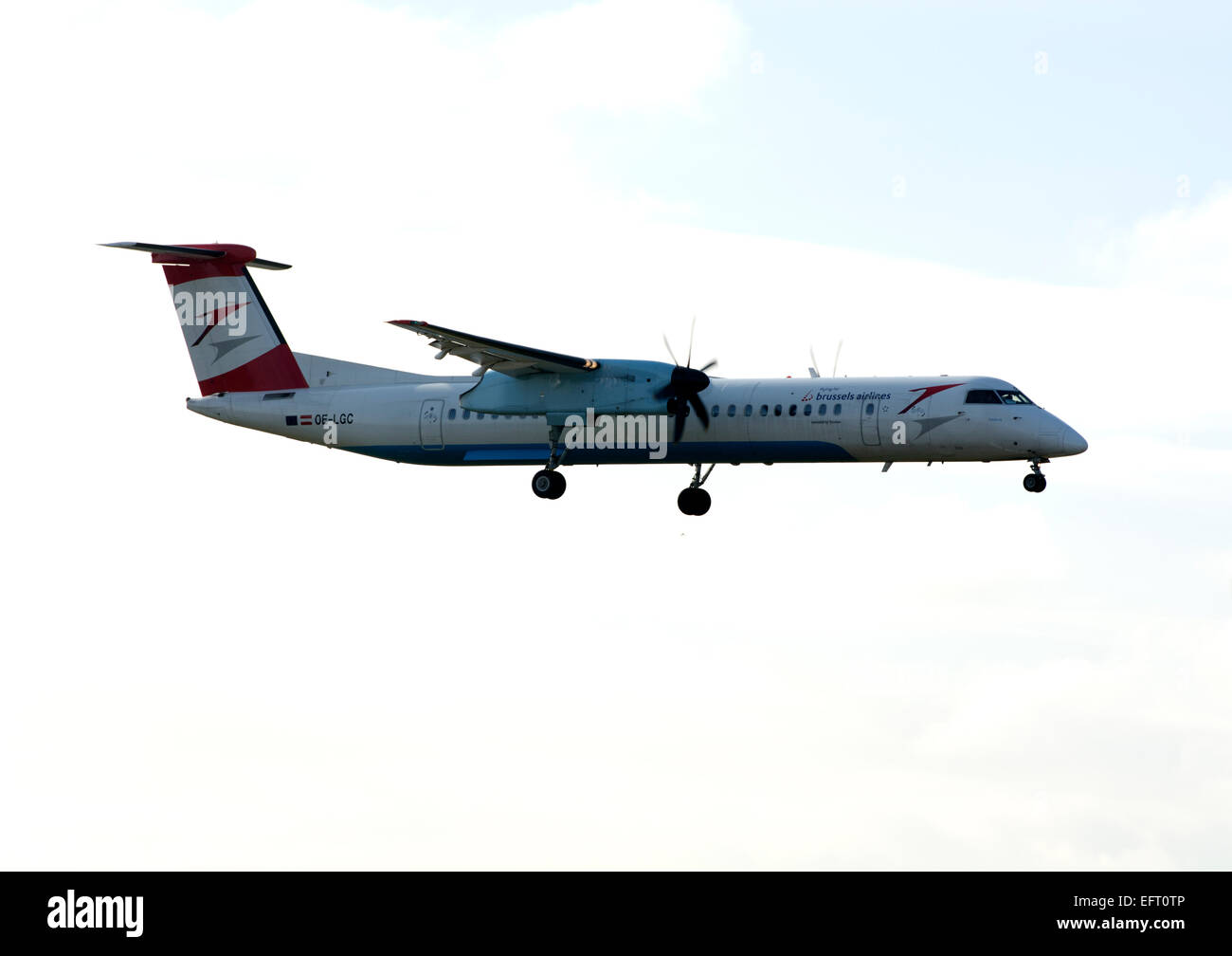 Brussels Airlines Dash 8 landing at Birmingham Airport, UK (OE-LGC) - Stock Image