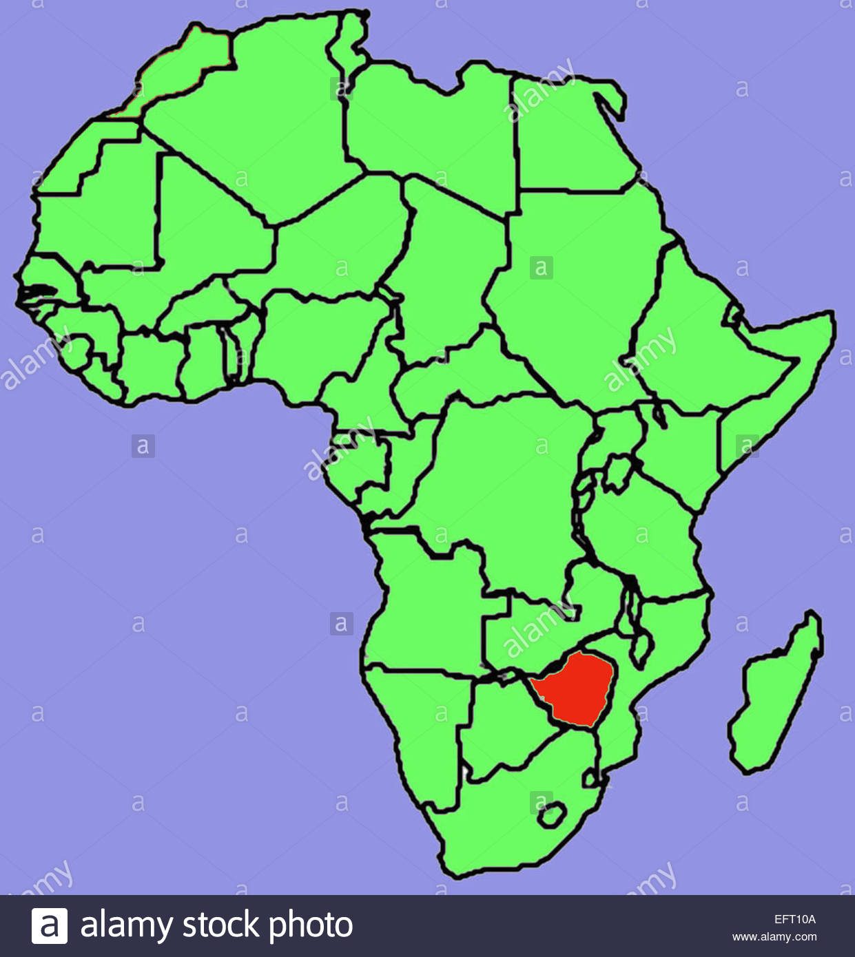 Map Of Africa Showing Zimbabwe.Map Republic Of Zimbabwe Southern Africa Zwe African Continent Stock