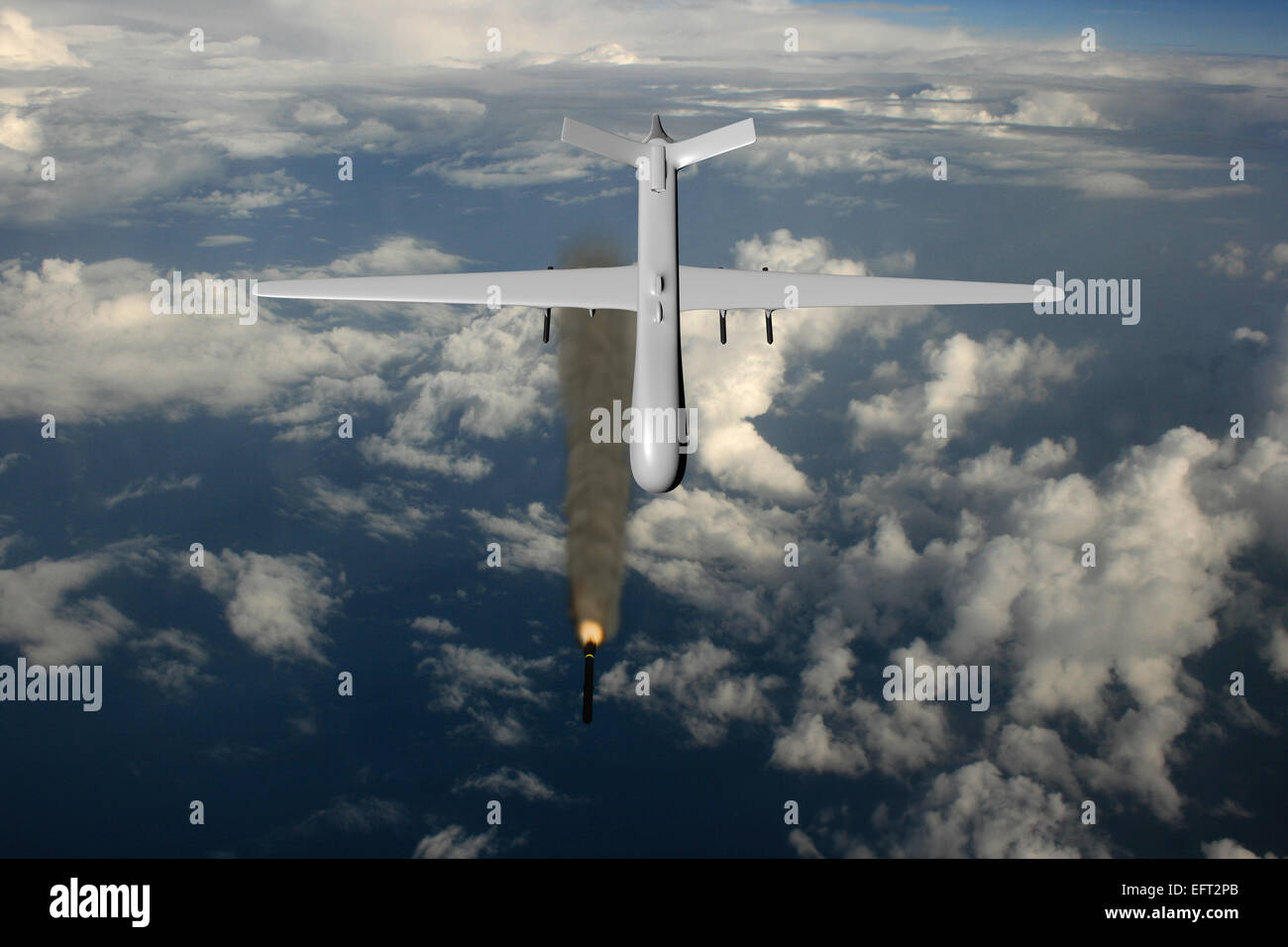 MQ-9 Reaper fires hellfire rocket - Stock Image