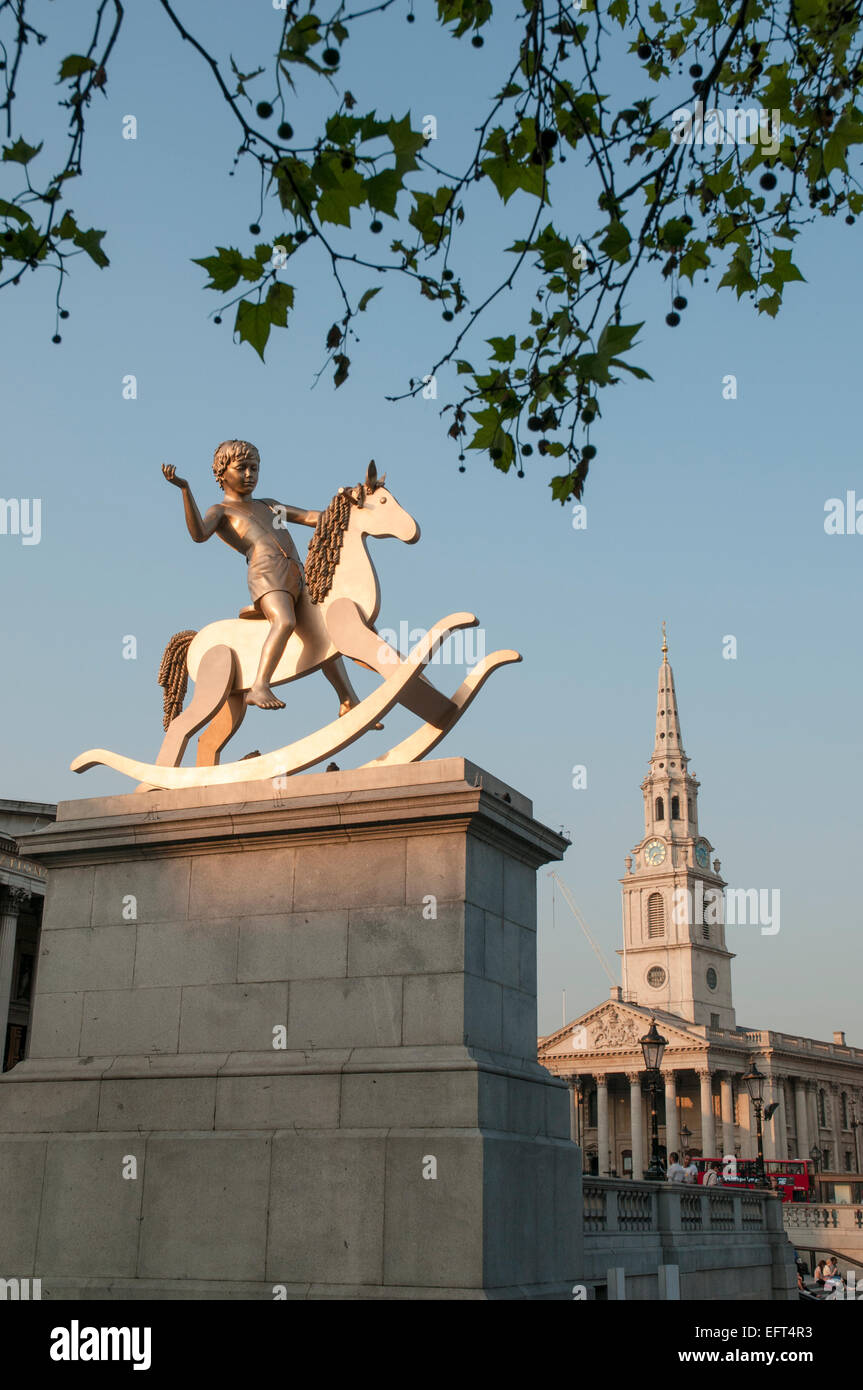The 'Fourth Plinth'  in Trafalgar Square, London, with the sculpture known as 'Powerless Structures - Stock Image