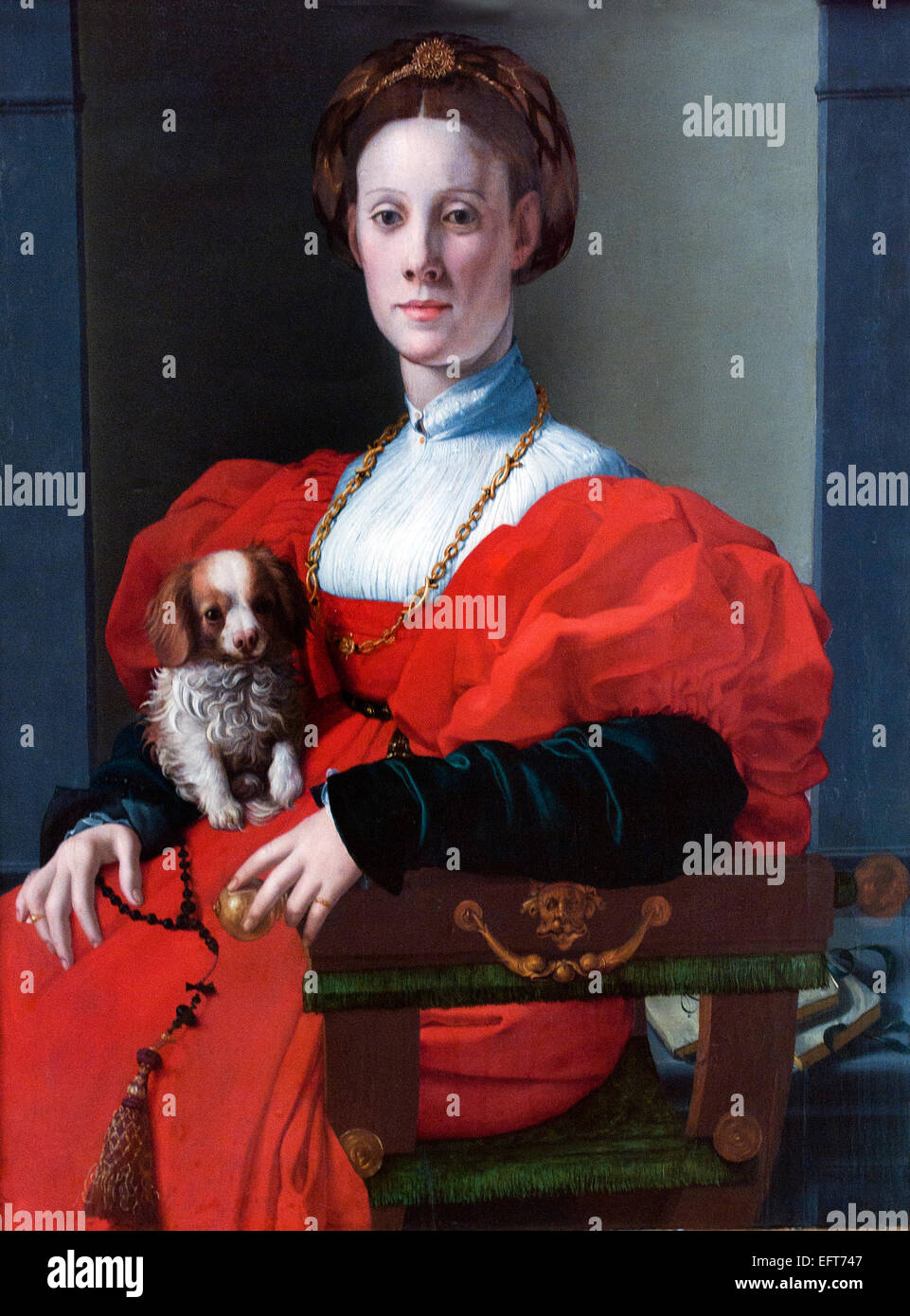 PORTRAIT OF A LADY WITH A LAPDOG, CA. 1537–40  Agnolo Bronzino (1503 -  1572)  Italy Italian - Stock Image