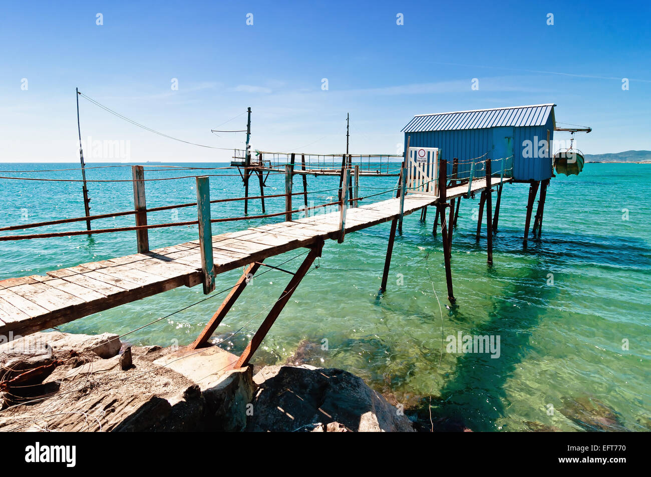 blue fishermen hut in Perelli beach on Tuscany coast, Piombino - Italy - Stock Image