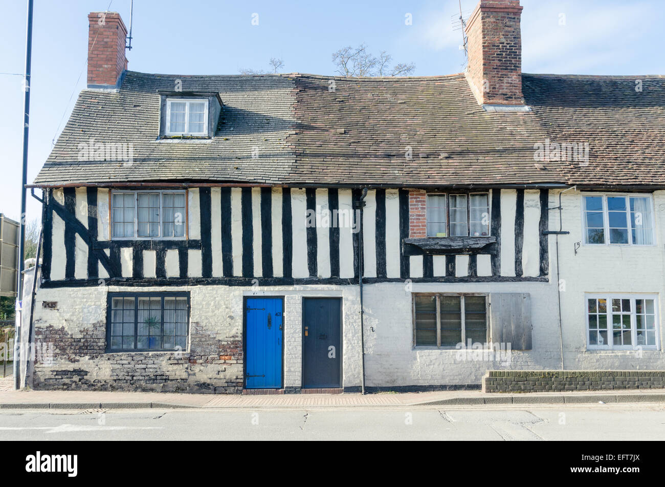 Old half-timbered cottages in the Shropshire town of Bridgnorth - Stock Image