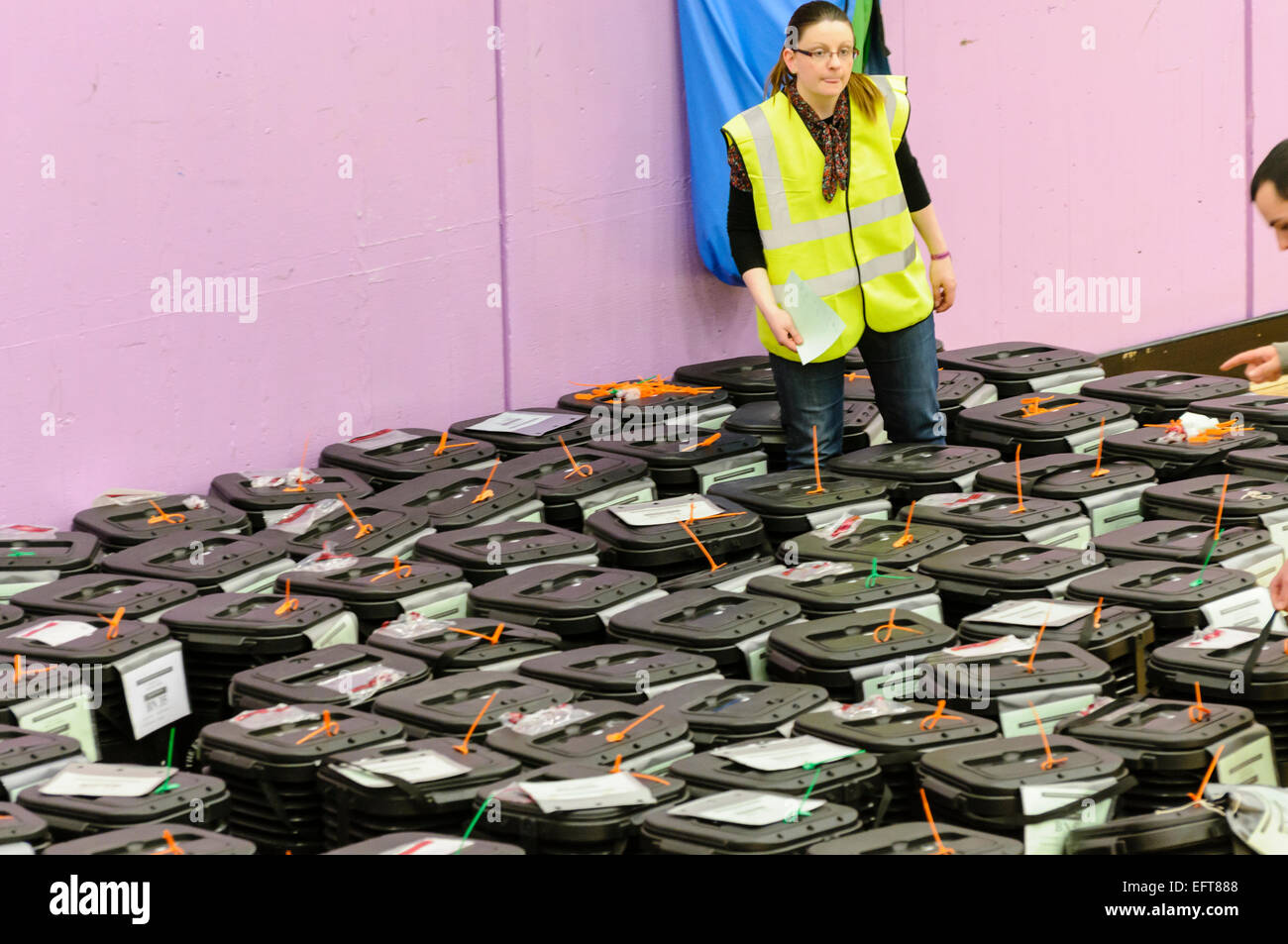 Ballot boxes are collected at a counting centre. - Stock Image