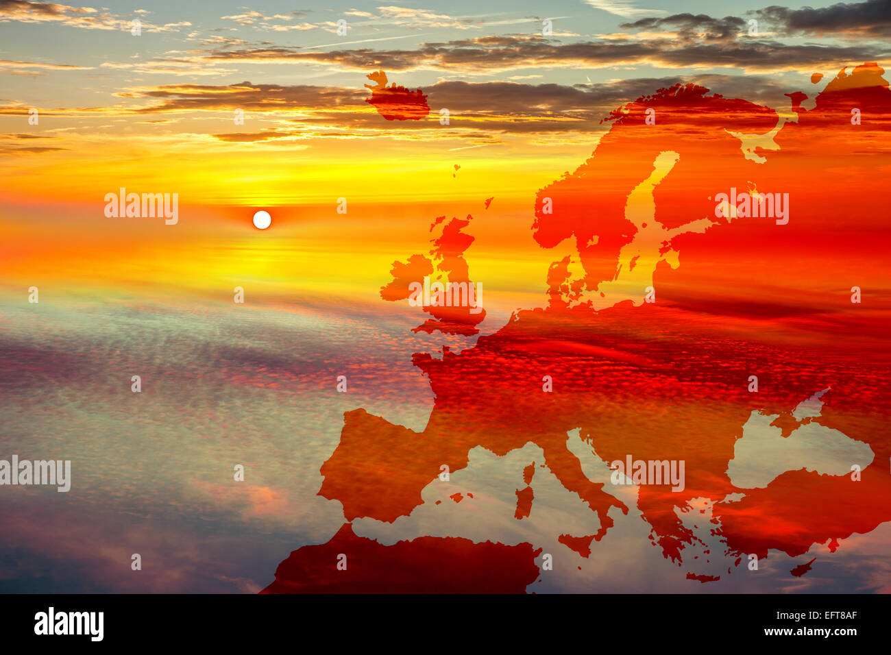 Map of Europe on sunset sky background. - Stock Image