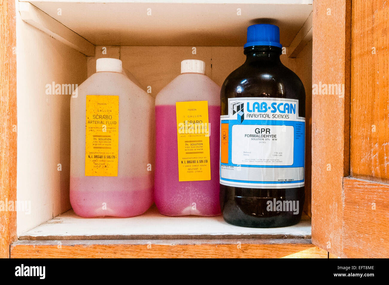 Arterial fluid and formaldehyde in a cupboard in a mortuary - Stock Image