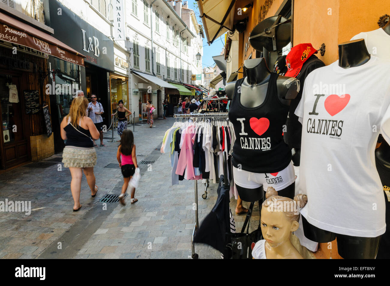 'I love Cannes' tee shirts on sale in a shop in Cannes, France. - Stock Image