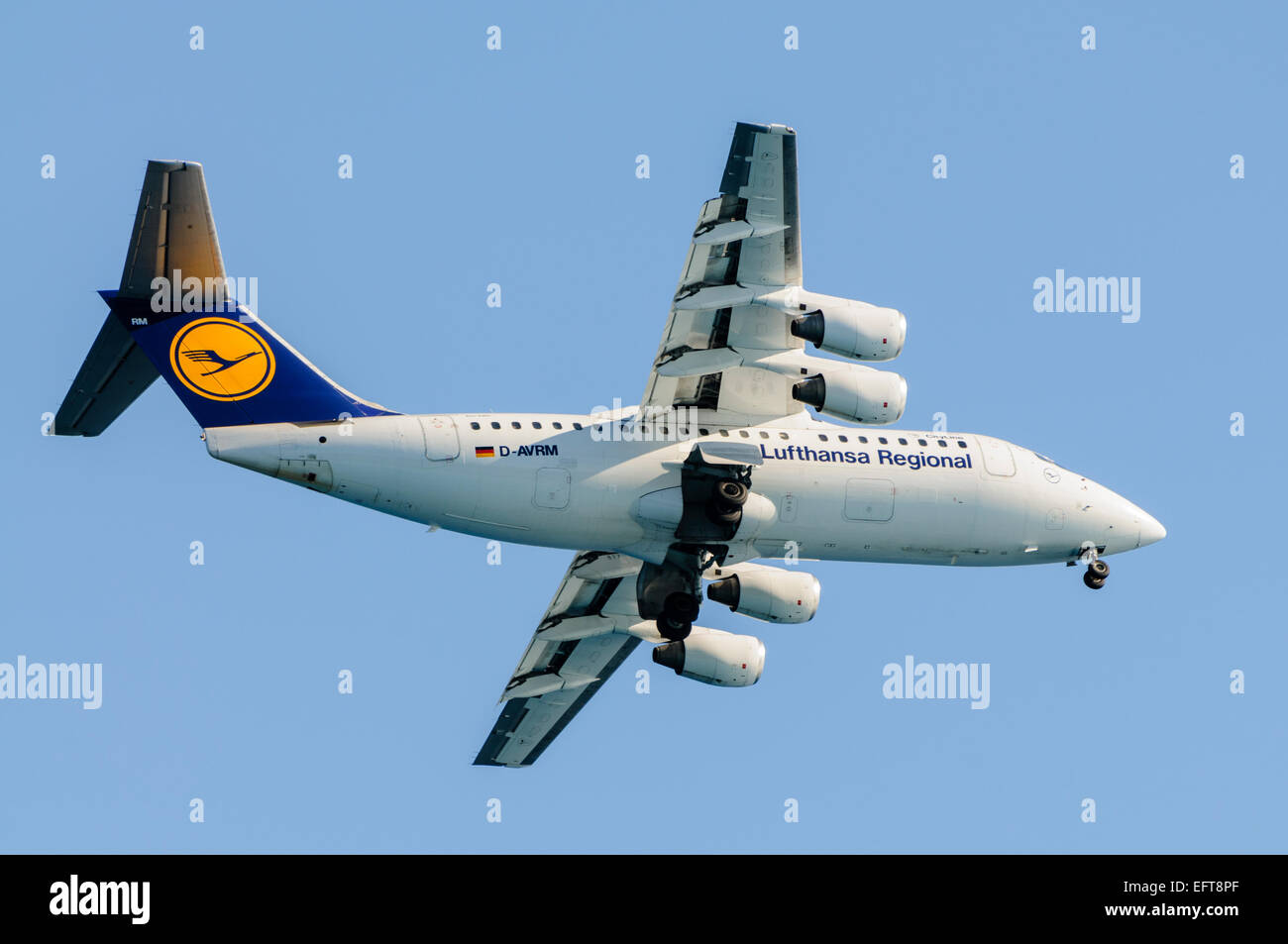 Lufthansa Regional CityLine Avro RJ85 with undercarriage lowered. - Stock Image