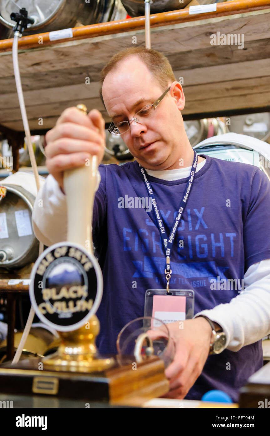 A man pulls a pint of beer at a CAMRA real ale festival. - Stock Image