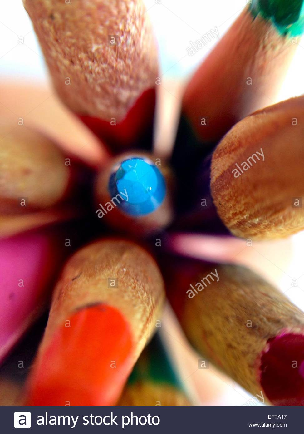 Close up of colored pencil tip - Stock Image
