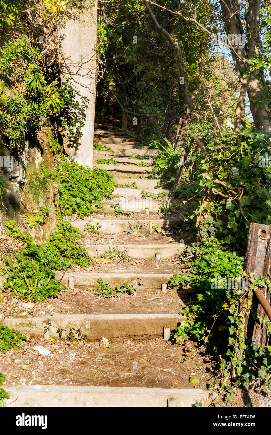 Stairs up the cliff at the start of the Frontline Britain Trail St Margarets Bay Dover Kent - Stock Image