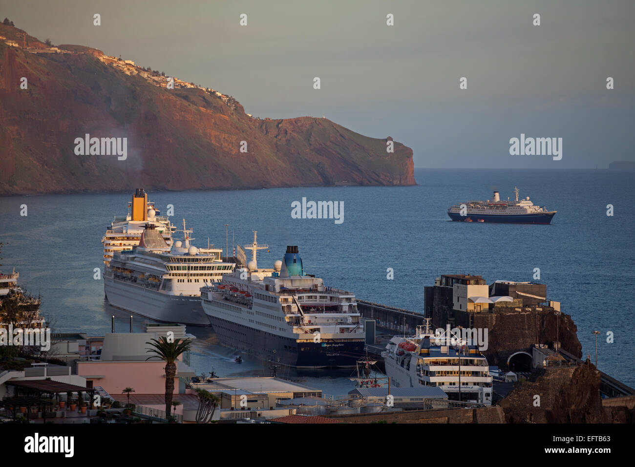 Cruise Liners in the harbour at Funchal - Stock Image