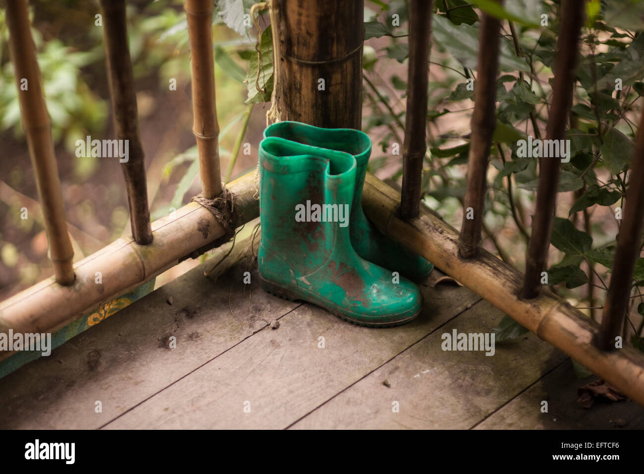 A pair of children's welly boots. Stock Photo