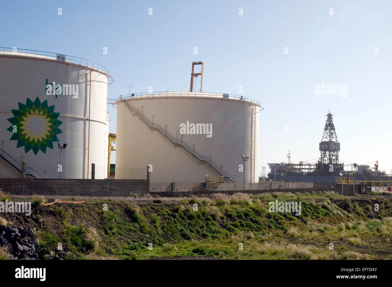 bp oil storage tank tanks British petroleum Stock Photo