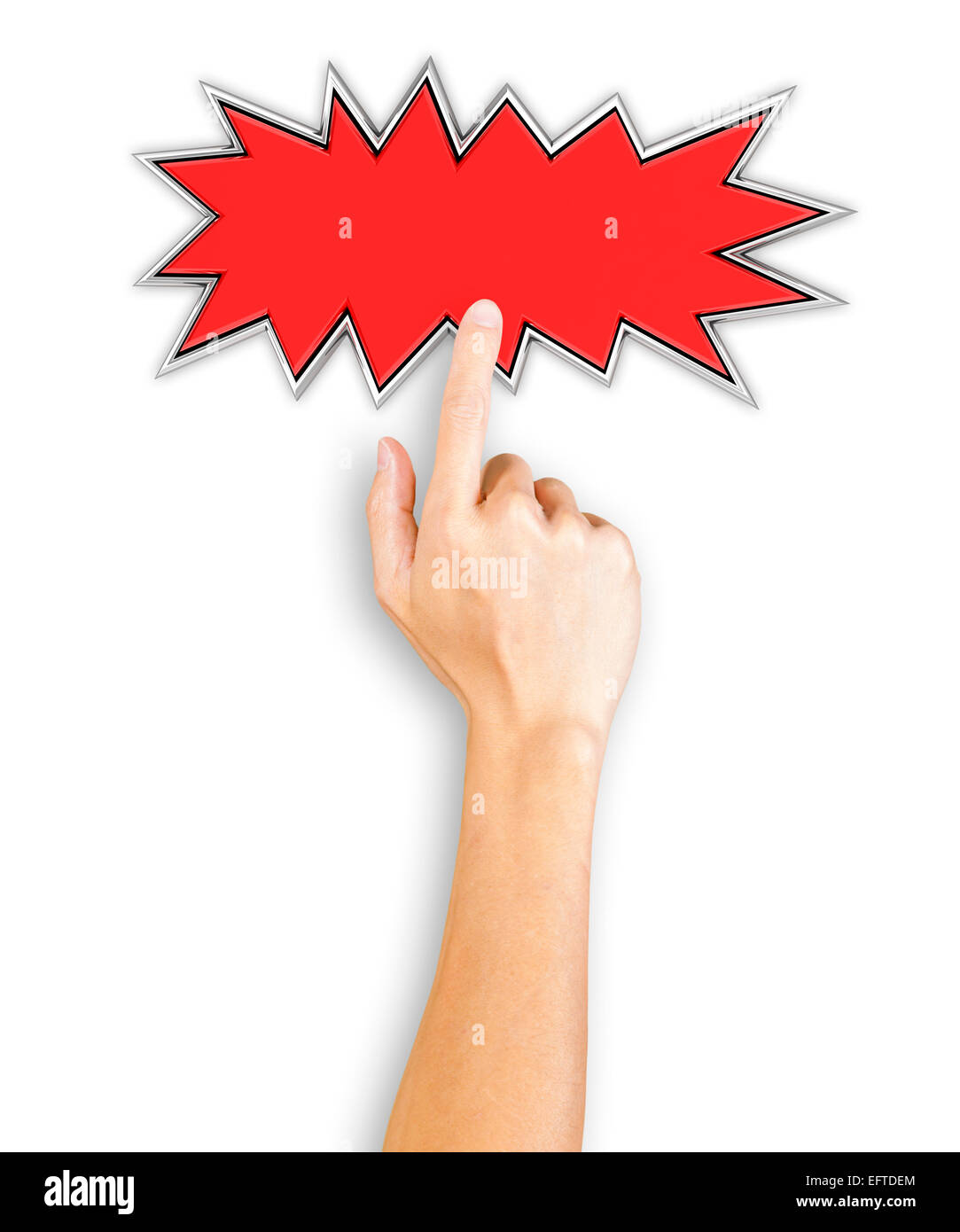 Hand clicking a starburst button, top view - Stock Image