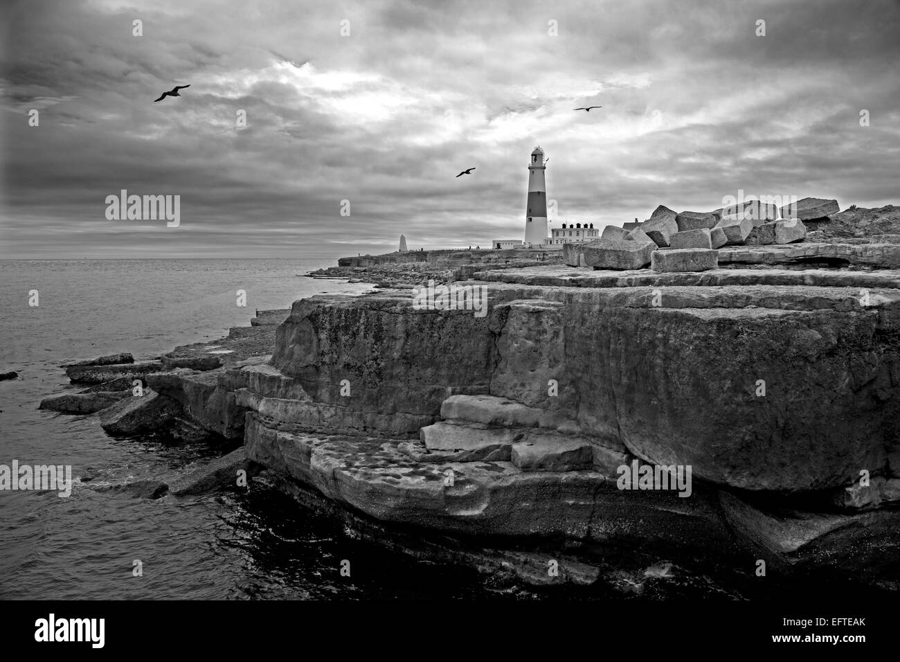 Portland Bill lighthouse looking south west as a black and white image - Stock Image