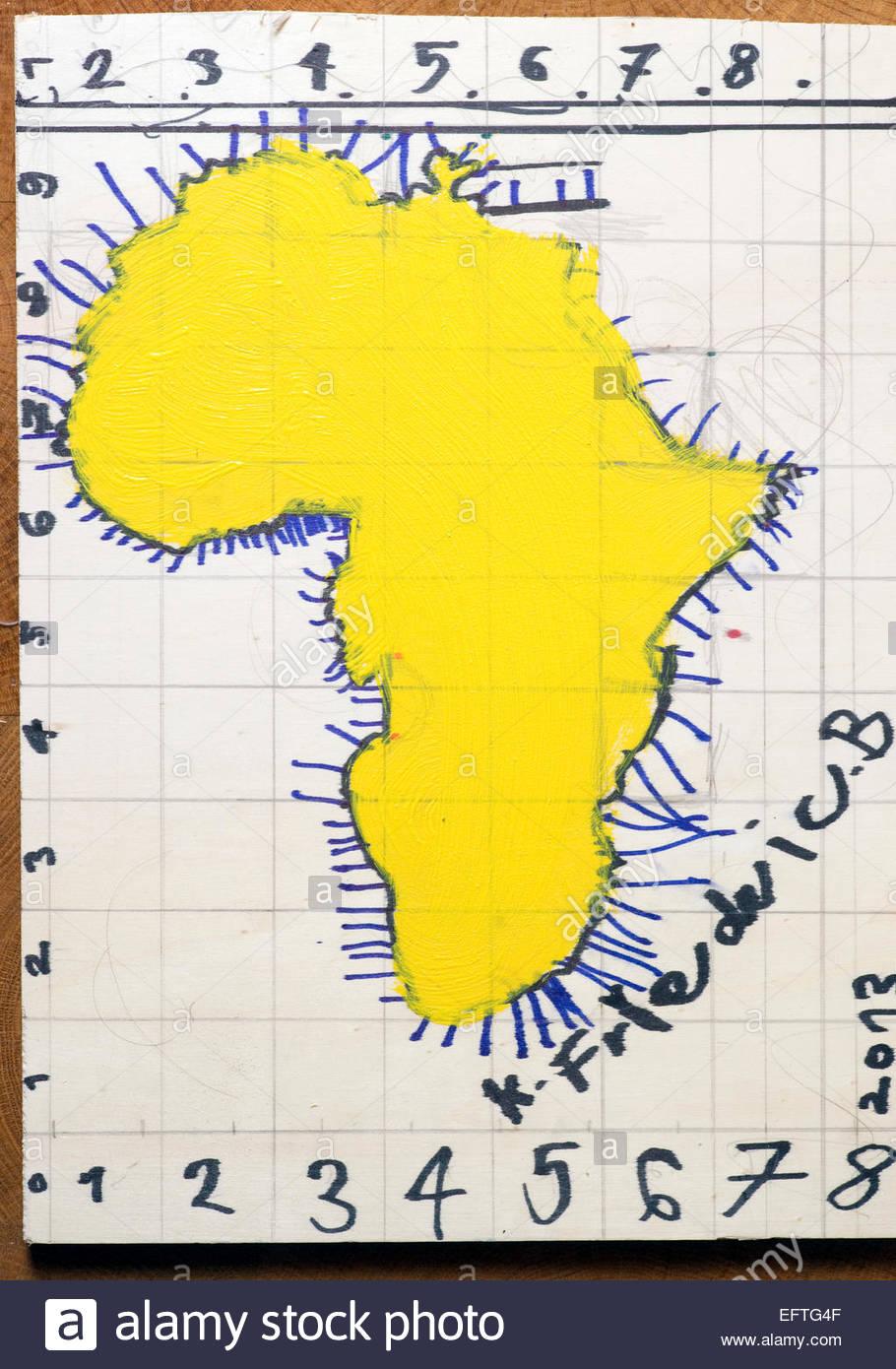 Kid Map Of Africa.Artwork Artist Painting Art Creativity Painting Map Of Africa Childs