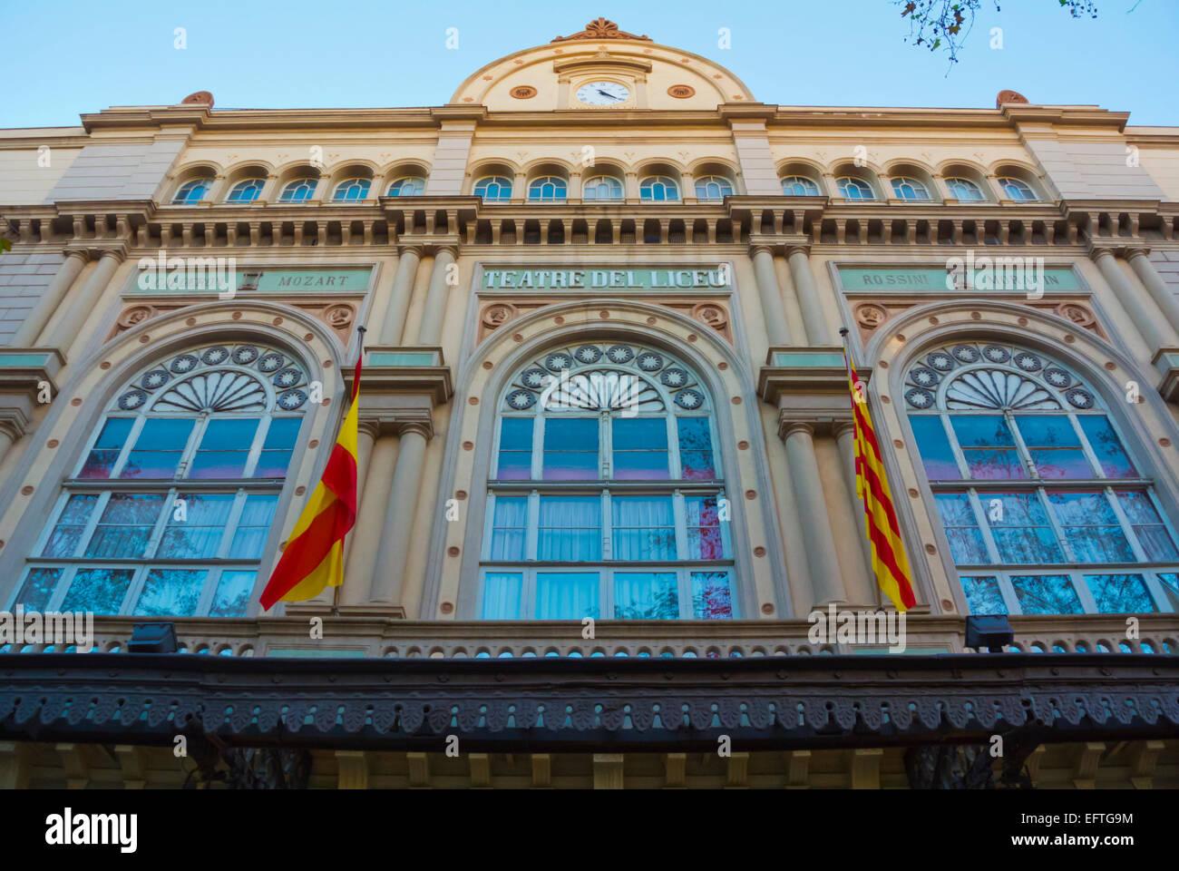 Teatre del Liceu, Ramblas, El Raval, Barcelona, Spain - Stock Image
