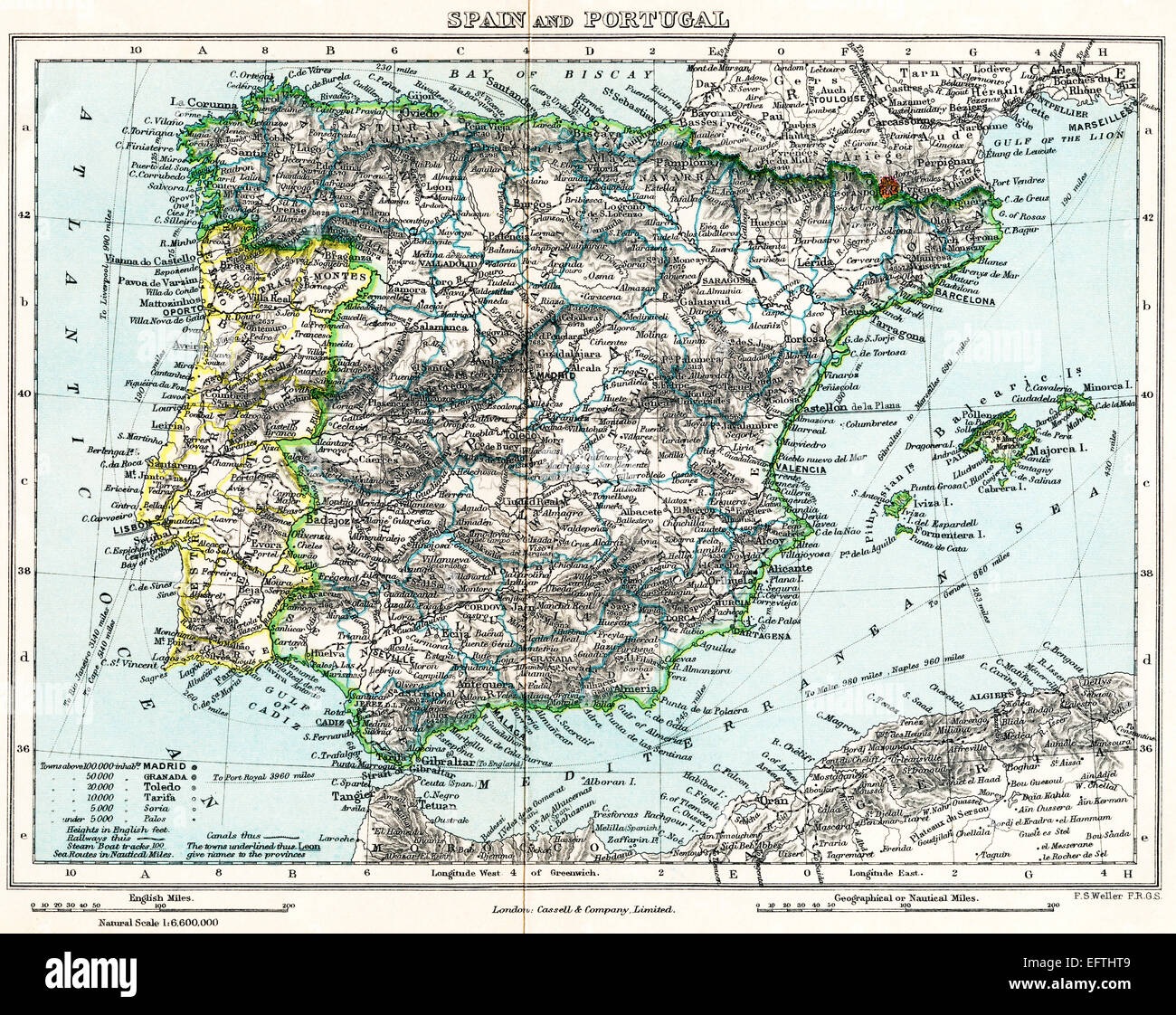 Map of Spain and Portugal c.1872.  From Milner's Gallery of Geography. - Stock Image