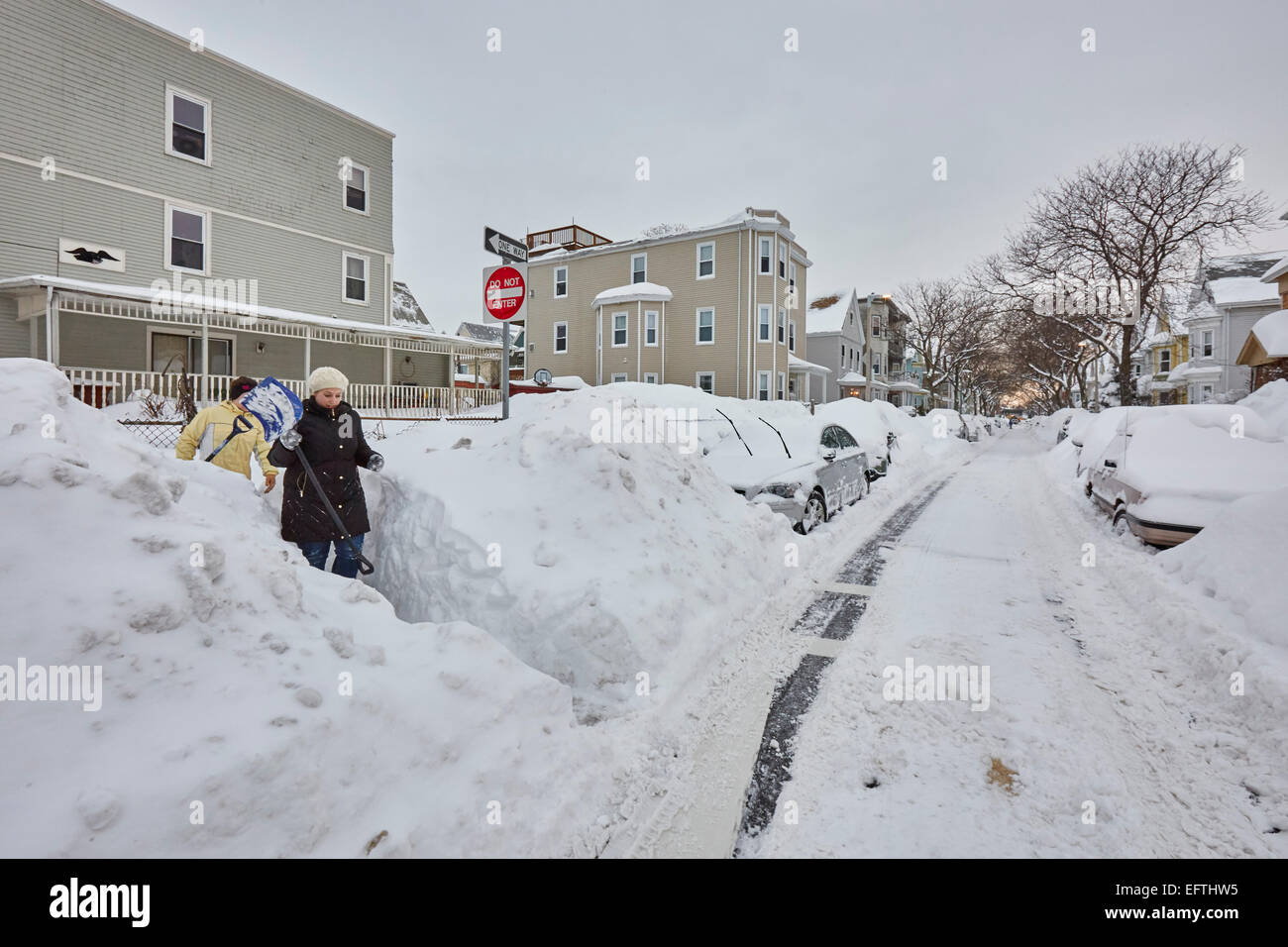 Boston, MA, US. 10th February, 2015. Aftermath of Snow storm Marcus. Credit:  MJ Photography/Alamy Live News - Stock Image