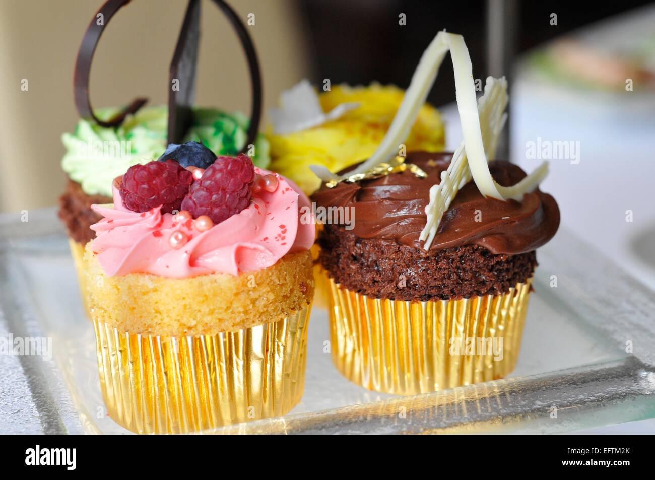 Afternoon Tea Cakes at The London Hilton, Park Lane, London, England, UK - Stock Image