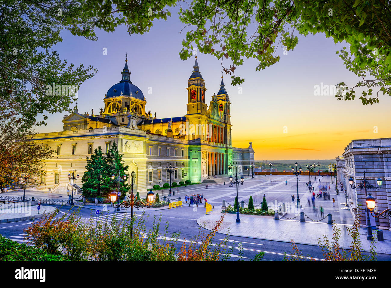 Madrid, Spain at La Almudena Cathedral and the Royal Palace. - Stock Image